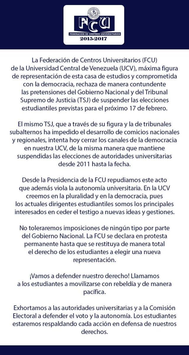 comunicado ucv contra sentencia del tsj