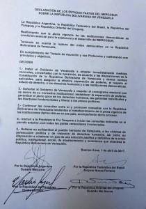 documento de unasur por venezuela 1-4-2017