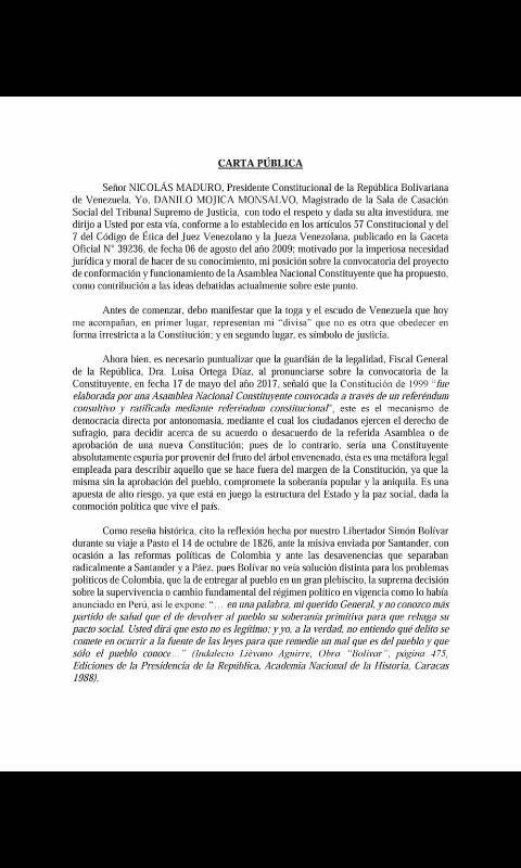 Carta a Maduro