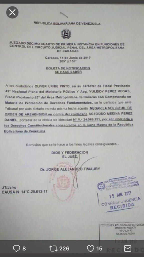 Notificación del tribunal que libera a conductor de la tanqueta