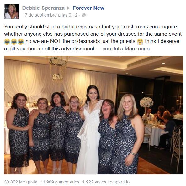 Seis mujeres mismo vestido boda en Australia