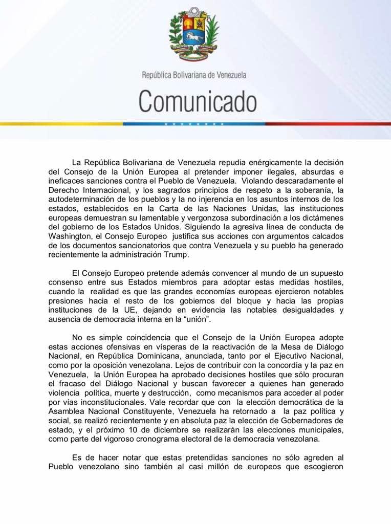 comunicado venezuela a la UE