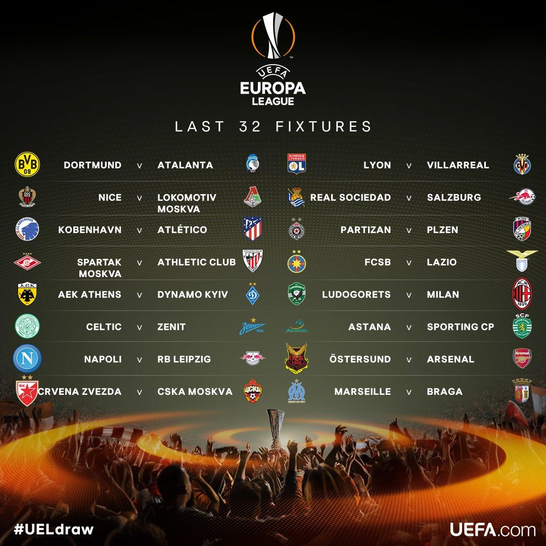 32vos sorteo europa league